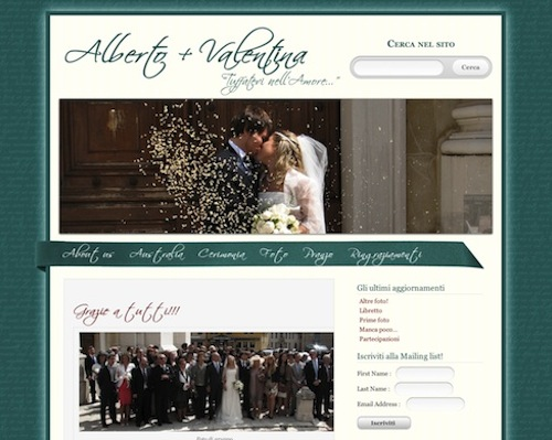 wedding website homepage
